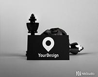 Black one side Business card mock up