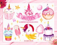 Unicorn Watercolor Set , Hand painted Illustrations