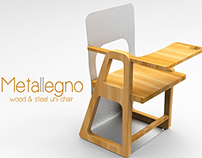 Metallegno | wood and steel university chair