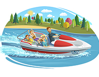 Vector Illustration - Holiday and water Sports