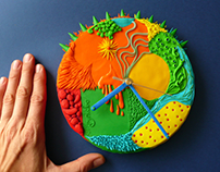 Abstract mixture - wall clock made of polymer clay