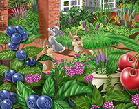 Beautiful Garden and Gazebo Illustration