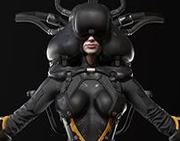 Sci-fi cyborg pilot
