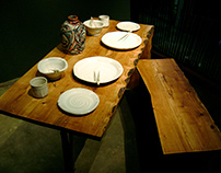 Modern Romantic Live Edge Table and Bench
