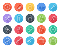 iOS8 Icons - Business & Lifestyle Flat Line Icons Pack