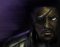 digital painting portrait of Nick Fury