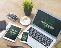 Stationary laptop bundle mockup - Free PSD