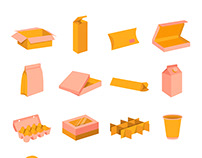 Packaging boxes cartoon vector icons set