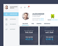 Dashboard for money saving service