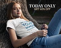 Facebook Ad - Pretty Girl Wearing T-Shirt