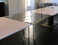 Solid Cast Glass and Marble Table