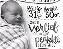 Typographic and Hand Lettered Birth Announcements