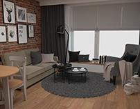 Projekt salonu z otwartą kuchnią w Krakowie