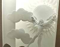 Icarus Falling Paper Sculpture