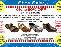 Post Card for Shoe Store July 4th Sale, 2015