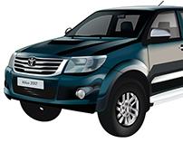 Ilustración realista, camioneta Toyota Hilux