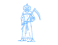 A man with a sickle with a pumpkin mask