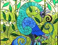 Fancy Bird Window Mosaic