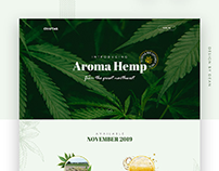 Splash page design for Aroma Hemp