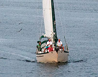 Green and white sailboat