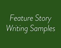 Feature Writing Samples