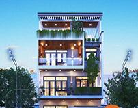 Mẫu nhà phố mặt tiền rộng 8m hiện đại 3 tầng 1 tum đẹp