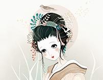 Geisha en el bosque