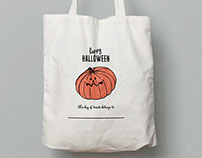 Illustration and design for Halloween treat bags.