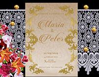 Golden Leaf Wedding Invitation card