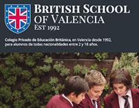 Anuncio diseñado para British School of Valencia