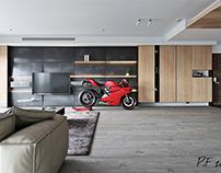 Sexy Ducati 1199 Panigale in a men's stylish interior