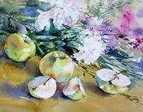 Watercolor still life with apples