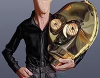 Caricatura de Anthony Daniels (C-3PO)