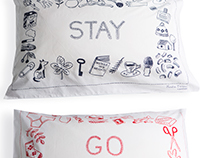 'Stay' and 'Go' pillow designs for Gorman