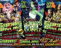 Goons And Goblins Hood Night Out Halloween Flyer