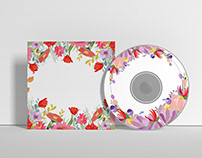 Flower illustration pattern for CD Label design