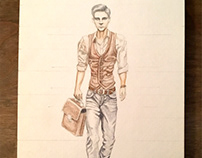 Male Figure Fashion Painting