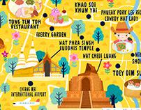 Chiang Mai Thailand Map Illustration