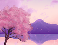 Chill Mountain Pink Tree Background