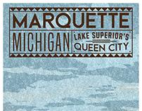 Vintage Marquette, Michigan Tourist Poster