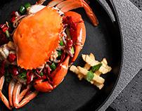 Cool black Sichuan restaurant food photography: visual