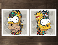 MECHASOUL HOMER + BART FINE ART PRINTS SET
