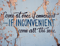 """Come at once if convenient..."" Lettering"