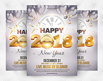 Happy New Year 2018 Flyer Template