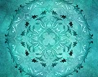 Ethnic floral turquoise mandala on grunge background.