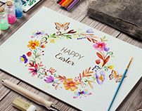 Watercolor Easter frame