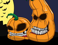 Halloween pumpkins speed paint and vector art
