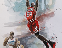 Michael Jordan - Watercolour 29,7x42cm