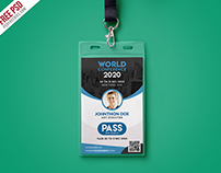 Free PSD : Conference VIP Entry Pass ID Card Template