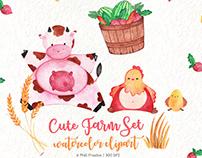 Free Cute Farm Watercolor Clipart Pack